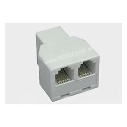 Adapter 6C gniazdo moduł / 2*gniazdo moduł biały