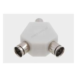 Adapter wtyk TV/2*gniazdo TV plastik płaski