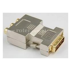 Adapter wtyk DVI / 3*gniazdo RCA złoty
