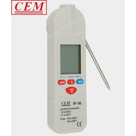 Pirometr CEM IR-98 z termometrem (-35~260°C enastawny 1:1) + sonda T/C:K