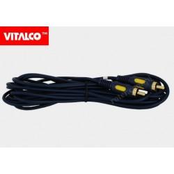 Przyłącze 1*wtyk RCA / 1*wtyk RCA RKD138 łezka 7,5m Vitalco
