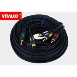 Przyłącze wtyk SVHS+wtyk 3,5 stereo / 3*wtyk RCA, łezka, złote 10m Vitalco