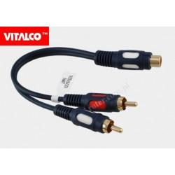 Adapter gniazdo RCA / 2*wtyk RCA przewód łezka Vitalco