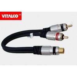 Adapter gniazdo RCA / 2*wtyk RCA przewód digital Vitalco RP26