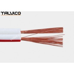 Przewód głośnikowy 2*0.50 biały z paskiem (szpula) Talvico Tg-231