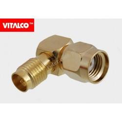 Adapter wtyk RSMA/gniazdo RSMA kątowy złoty Vitalco ES67