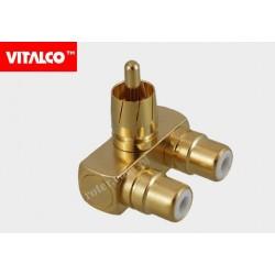 Adapter wtyk RCA/2*gn.RCA złoty RP05 Vitalco