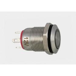 Przeł. okrągły 12mm z podśw. LED 12V/5A off-(on) 12SFE-2J czerwony IP67