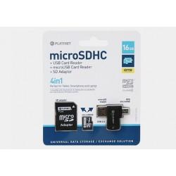 Karta pamięci mikroSD(HC) Platinet 16GB z adapterem+czytnik+OTG