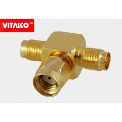 Adapter wtyk RSMA / 2*gniazdo RSMA złoty Vitalco ES68