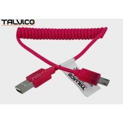 Przyłącze USB-mikro USB spiralne LED 1,0m czerwone DSF668 Talvico