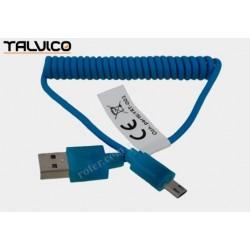 Przyłącze USB-mikro USB spiralne LED 1,0m turkusowe DSF668 Talvico