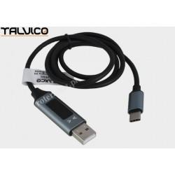 Przyłącze wtyk USB A/wtyk USB C z wyświetlaczem 1,5m DSKU690 Talvico