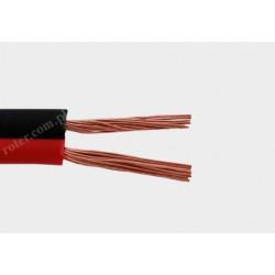 Przewód głośnikowy czarny z paskiem CCA, 2*0,50 (szpula)