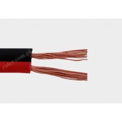 Przewód głośnikowy czarny z paskiem CCA, 2*0,75 (szpula)
