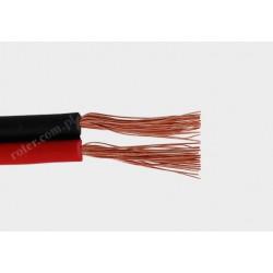Przewód głośnikowy czarny z paskiem CCA, 2*1,00 (szpula)