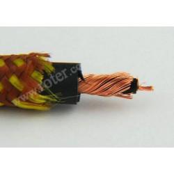 Przewód 1C+ekran okrągły 6,5mm bawełna żółto/brązowy
