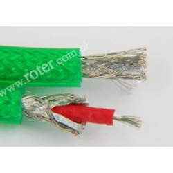 Przewód 2C+2*ekran (6+6mm) OFC, transparent, zielony