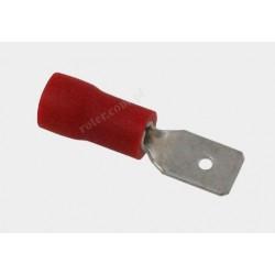 Konektor izolowany 4,8 x 0,5 męski czerwony