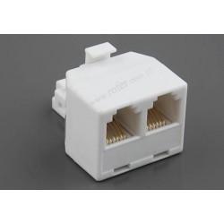 Adapter 6C wtyk moduł / 2*gniazdo moduł biały