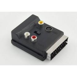 Adapter wtyk SCART / gniazdo SCART+3*gniazdo RCA+SVHS z przełącznikiem