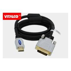 Przyłącze HDMI / DVI (24+1) chrom DSKDV28 Vitalco 1,8m