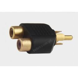 Adapter wtyk RCA / 2*gniazdo RCA złoty