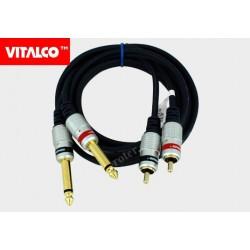 Przyłącze 2*wtyk 6,3 mono/2*wtyk RCA MK50 1,5m Vitalco