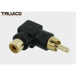 Adapter wtyk RCA/gn.RCA katowy złoty czarny Talvico