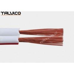 Przewód głośnikowy 2*1,00 biały z paskiem (szpula) Talvico Tg-231