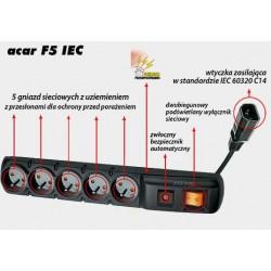 Listwa zasilająca ACAR F5 IEC 3m czarna