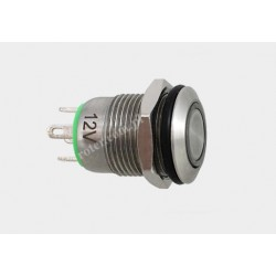 Przeł. okrągły 12mm z podśw. LED 12V/5A off-(on) 12SFE-2J zielony IP67