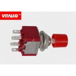 Przeł. przyciskowy 6pin on-(on) VS5433 czerwony Vitalco PRV200