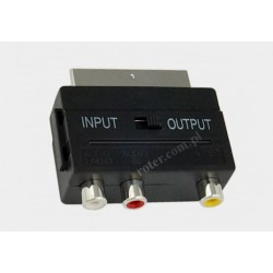 Adapter wtyk SCART / 3*gniazdo RCA z przełącznikiem