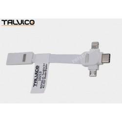 Adapter wtyk USB A/wtyk mikro USB + wtyk 8p + wtyk USB C Talvico