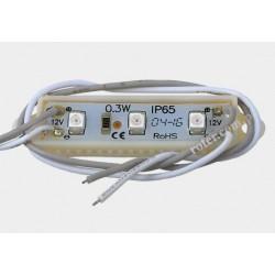 Moduł LED 3 diody SMD 3528 czerwone 0,24W 12V IP65
