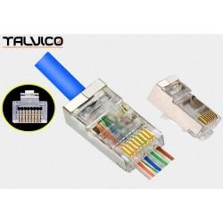 Wtyk 8P8C kat.5e drut FTP przelotowy Talvico