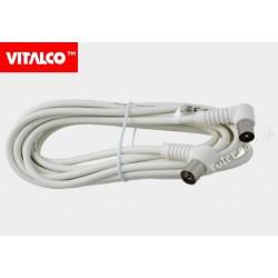 Przyłącze wtyk TV/gn. TV kątowe białe 3,0m AK40 Vitalco