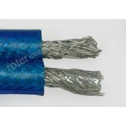 Przewód 2C+2*ekran (6+6mm) OFC, transparent, niebieski