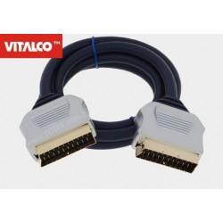 Przyłącze SCART / SCART 21p metal, płaskie, przewód niebieski SKKD20 Vitalco 5,0m