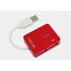 Hub USB 2.0 4-portowy SMILE czerwony