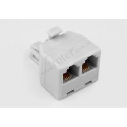 Adapter 4C wtyk moduł / 2*gniazdo moduł biały