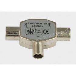 Adapter wtyk TV / 2*gniazdo TV indukcyjny, metal
