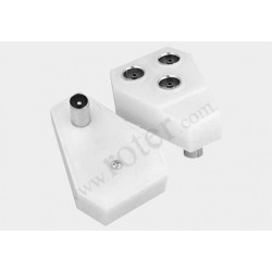 Adapter wtyk TV / 3*gniazdo TV plastik