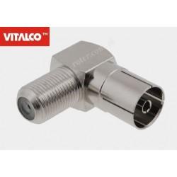 Adapter gniazdo F / gniazdo TV kątowy Vitalco FP255
