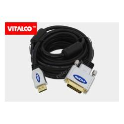 Przyłącze HDMI / DVI (24+1) chrom DSKDV28 Vitalco 5,0m